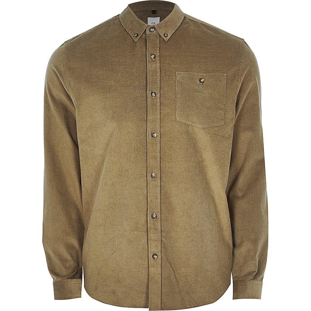 Stone long sleeve slim fit cord shirt