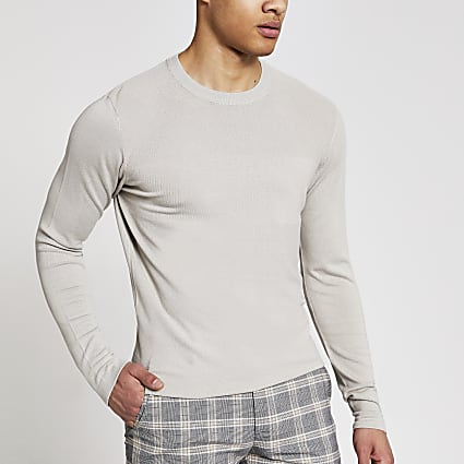 Stone long sleeve slim fit knitted top