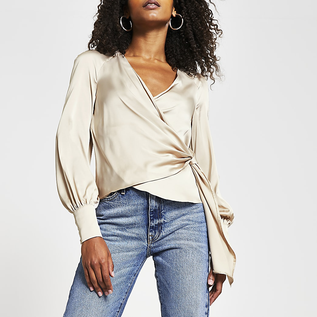 Stone long sleeve wrap front tie blouse
