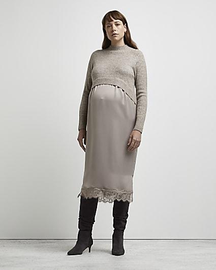 Stone maternity hybrid jumper dress