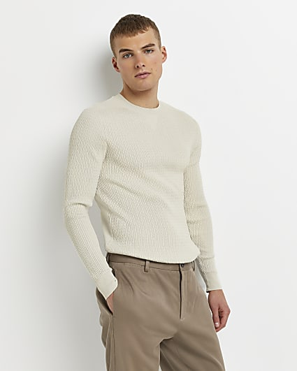 Stone muscle fit cable knit jumper