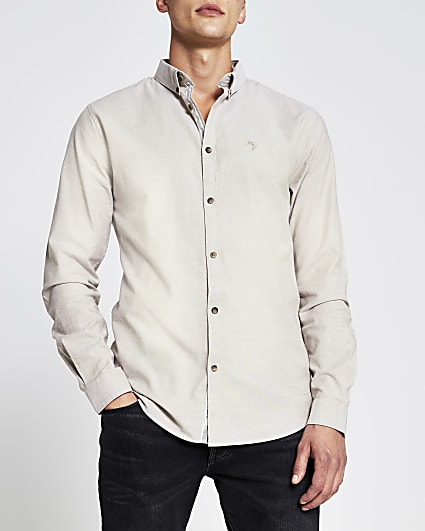 Stone muscle fit long sleeve oxford shirt