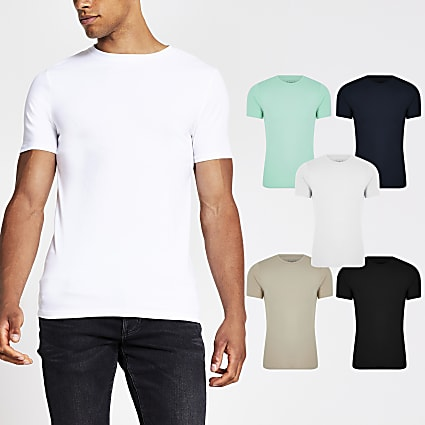Stone muscle fit T-shirt 5 pack