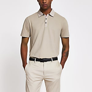 Stone nylon collar short sleeve polo top