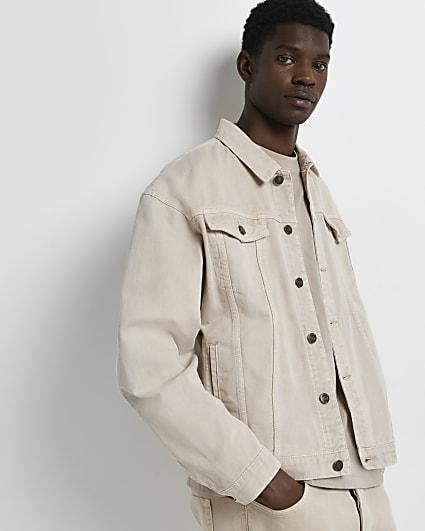 Stone oversized fit denim jacket