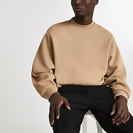 Stone oversized long sleeve sweatshirt