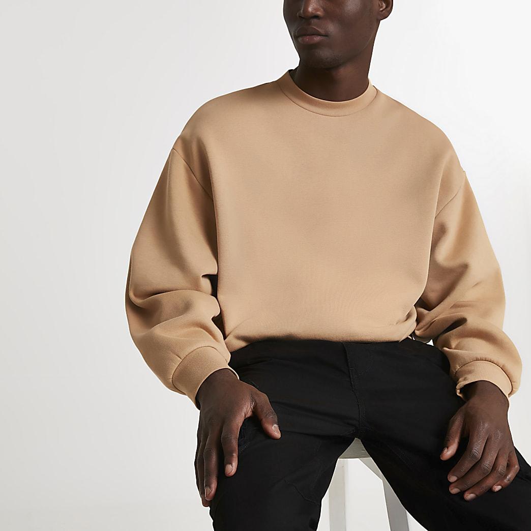 Stone oversized long sleeve sweatshirt