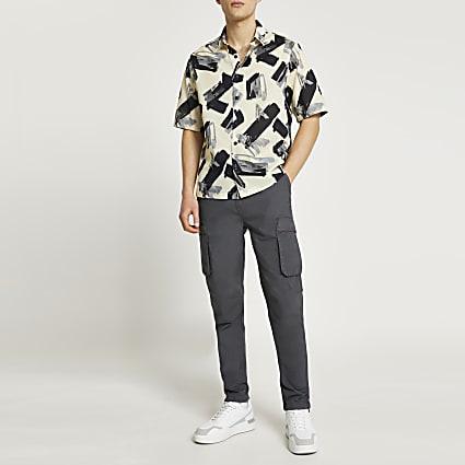 Stone paint stroke print shirt