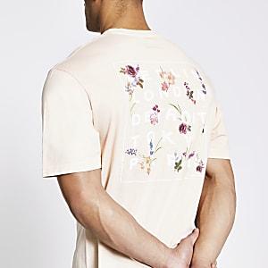Kiezelkleurig boxy-fit T-shirt met print en korte mouwen