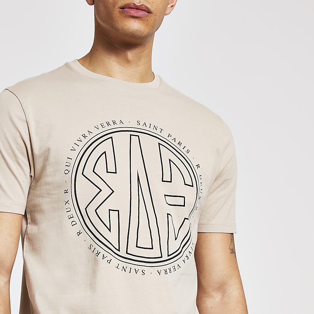 Kiezelkleurig slim-fit T-shirt met print