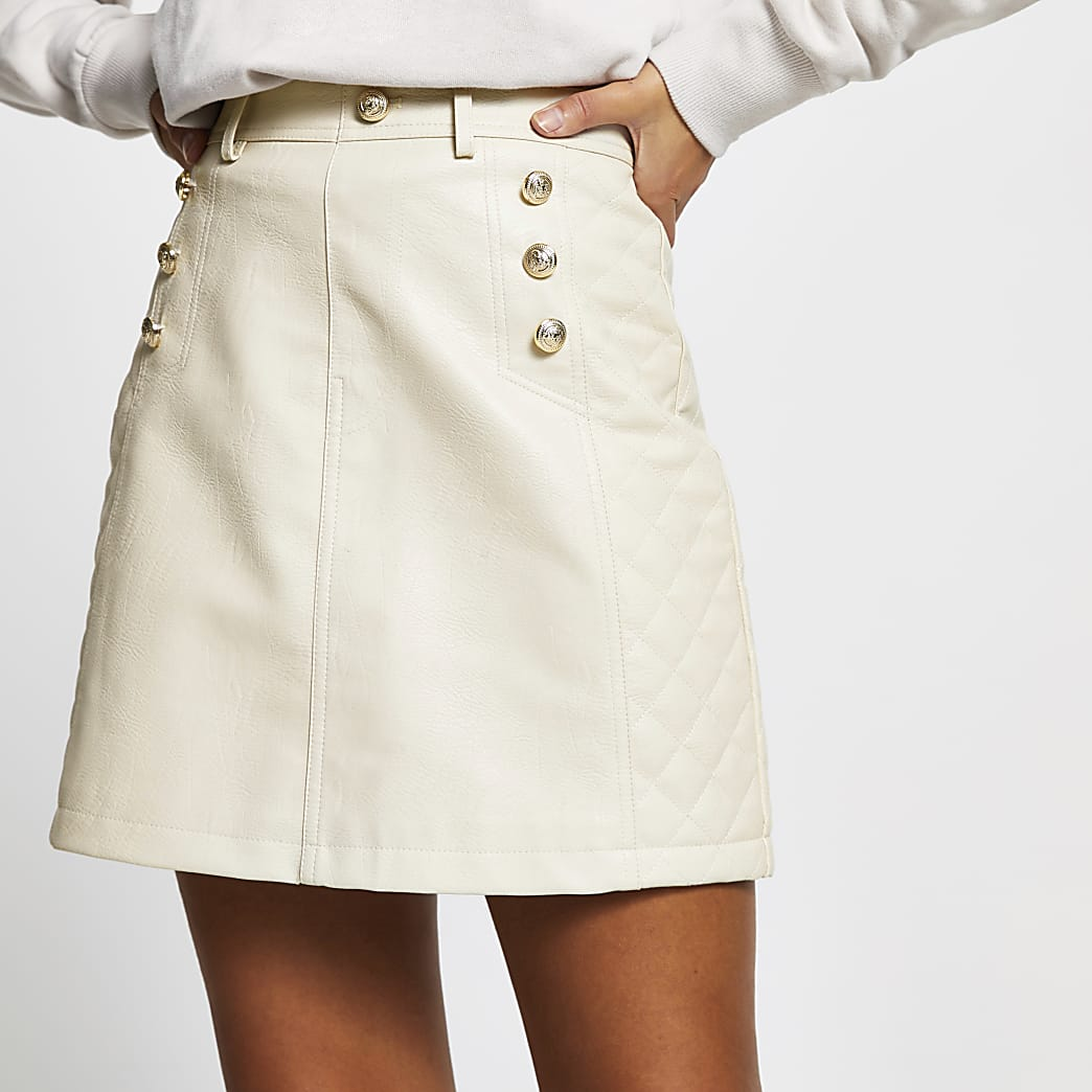 Stone PU quilted mini skirt