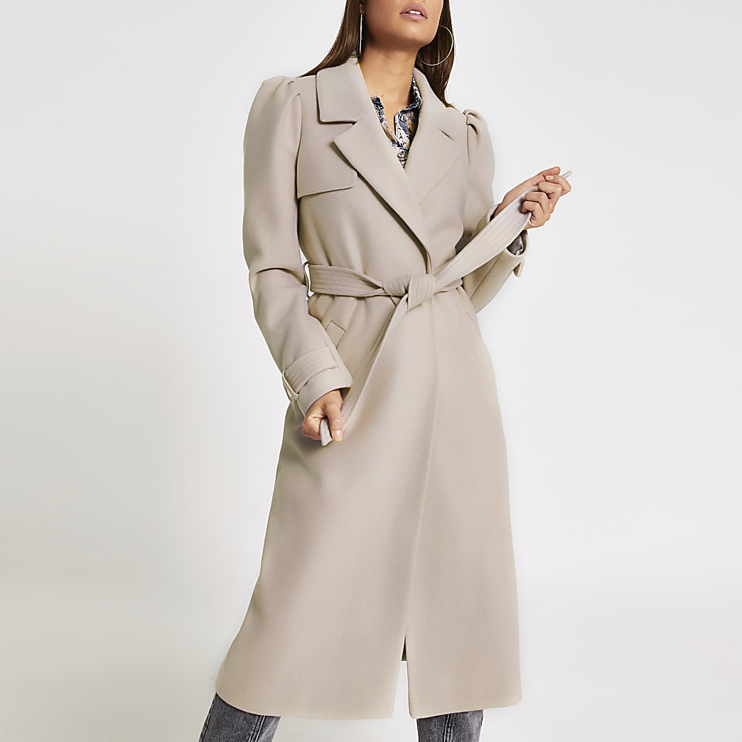 Stone puff sleeve belted longline coat