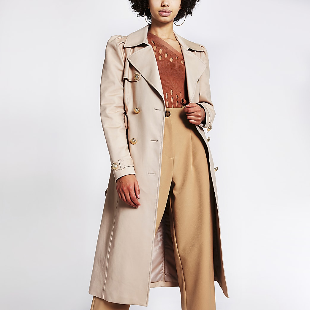 Stone puff sleeve double breasted trench coat