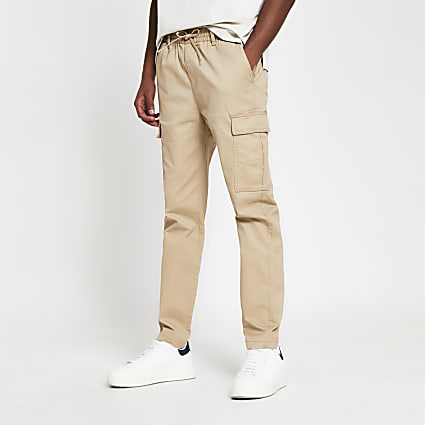 Stone pull on twill skinny fit cargo trousers