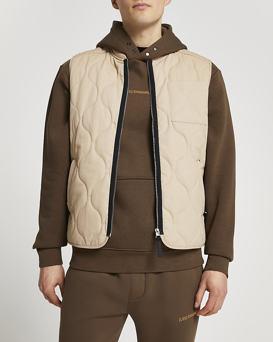 Stone quilted gilet