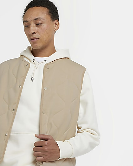 Stone quilted popper fastening gilet
