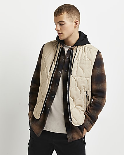 Stone quilted zip pocket gilet
