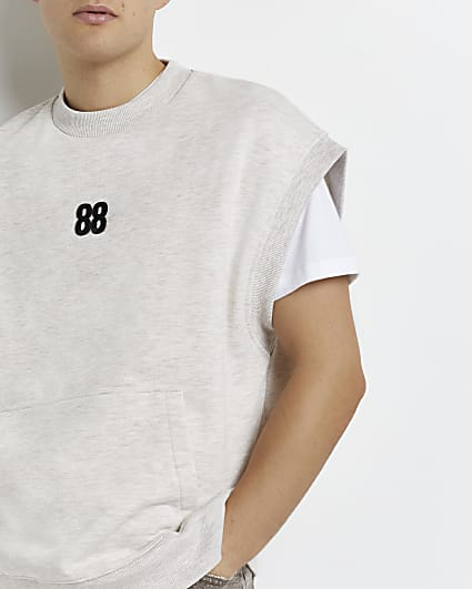 Stone regular fit sleeveless sweatshirt vest
