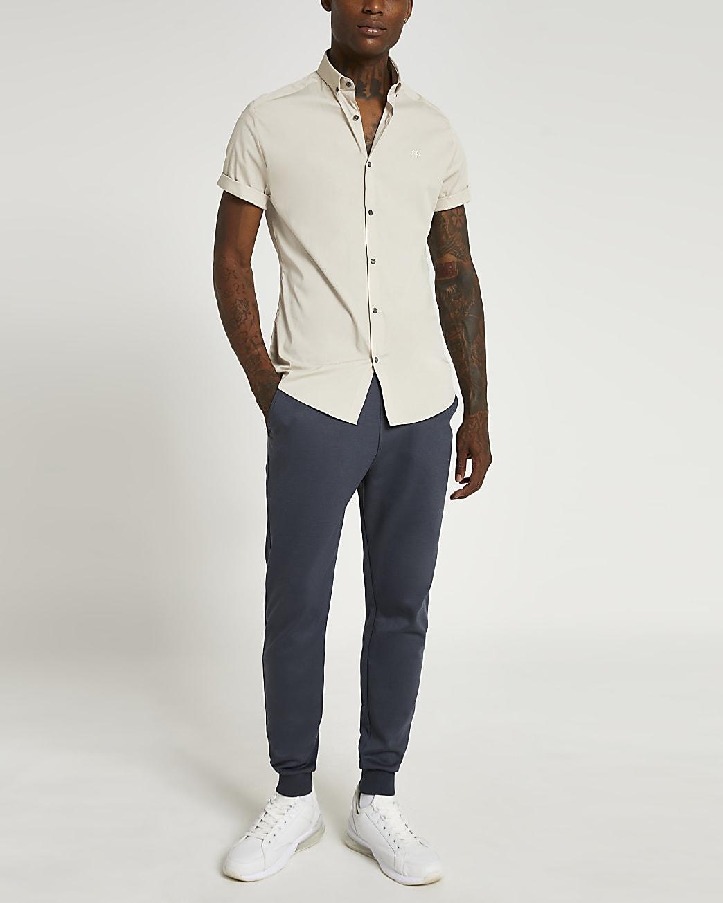 Stone RI muscle fit short sleeve shirt