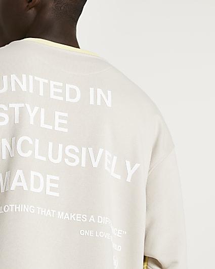 Stone RI ONE colour block graphic sweatshirt