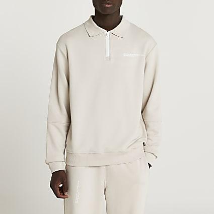 Stone RI ONE long sleeve zip polo shirt
