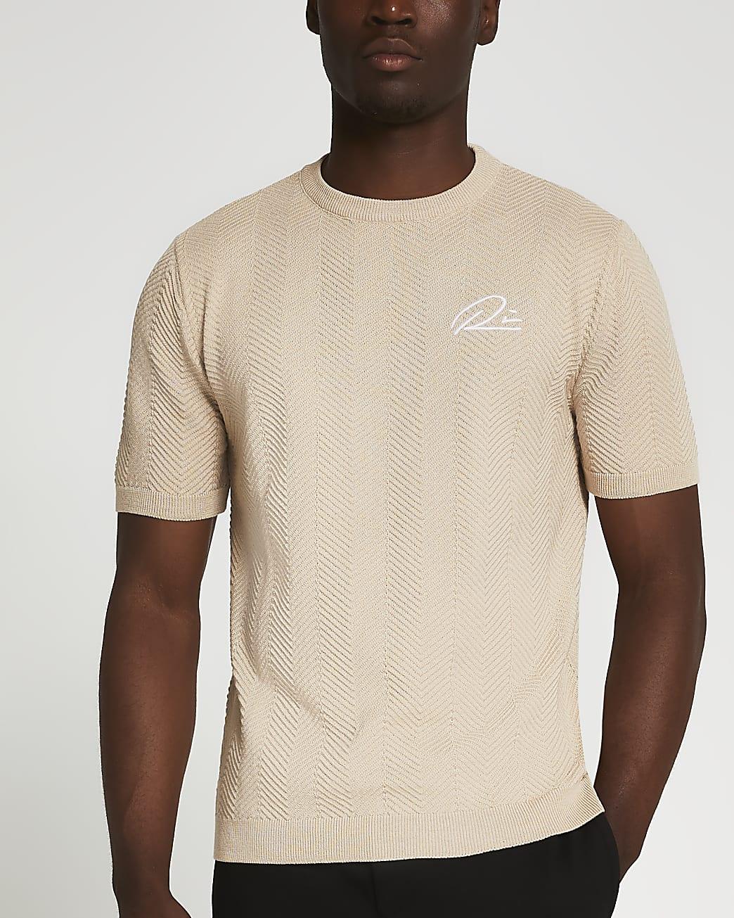 Stone RI slim fit chevron t-shirt