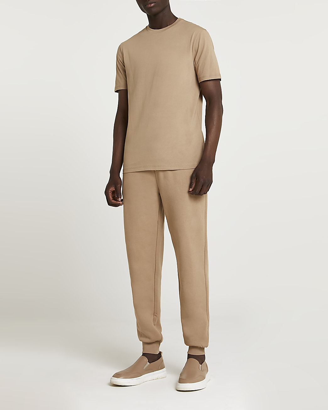 Stone RI slim fit t-shirt and joggers fit