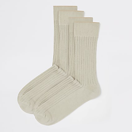 Stone ribbed cotton socks 2 pack