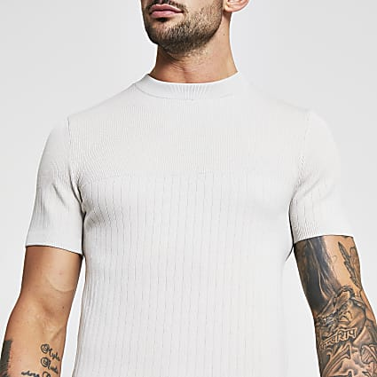 Stone ribbed muscle fit knitted t-shirt