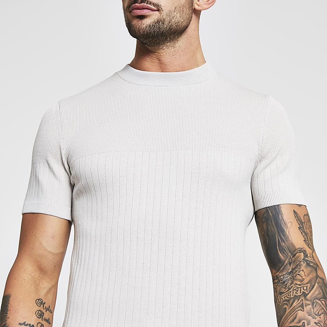 Stone ribbed muscle fit short sleeve t-shirt