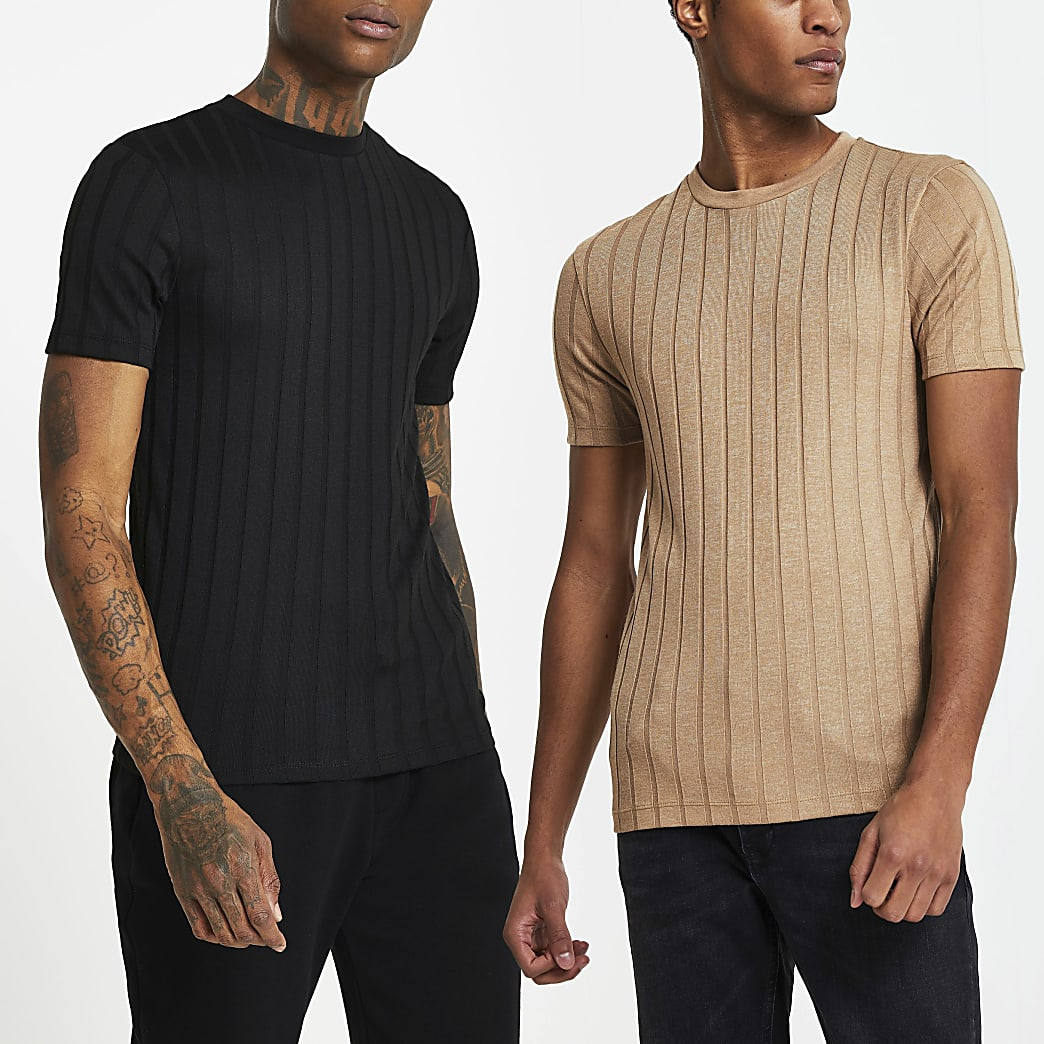 Stone ribbed muscle fit t-shirt 2 pack