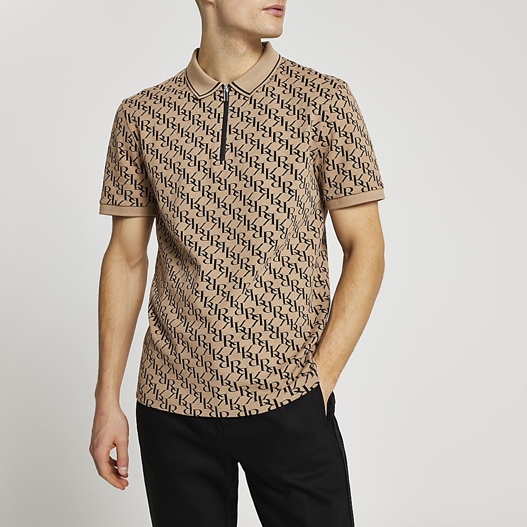 Stone RR jacquard print slim fit polo shirt