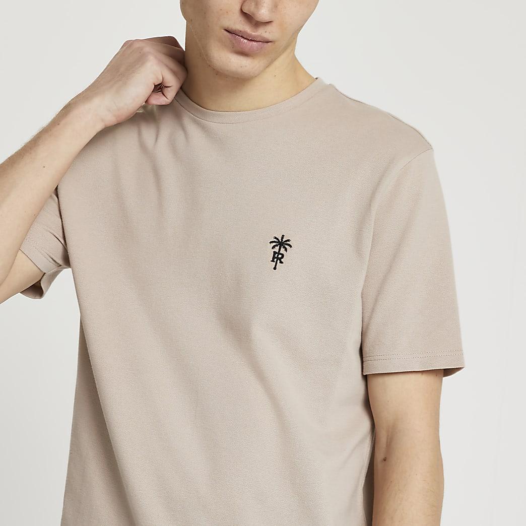 Stone 'RR' palm trees logo slim fit t-shirt