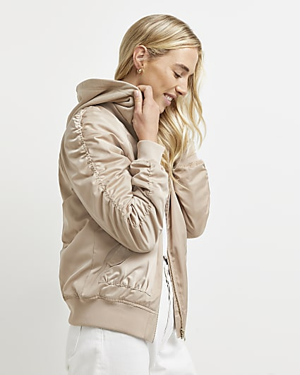 Stone ruched hooded bomber jacket