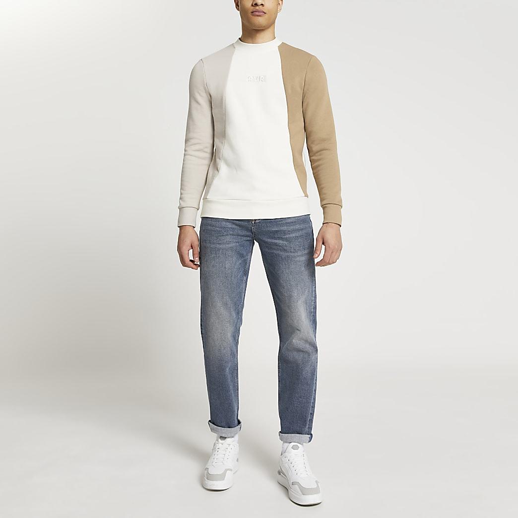 Stone RVR colour block muscle fit sweatshirt