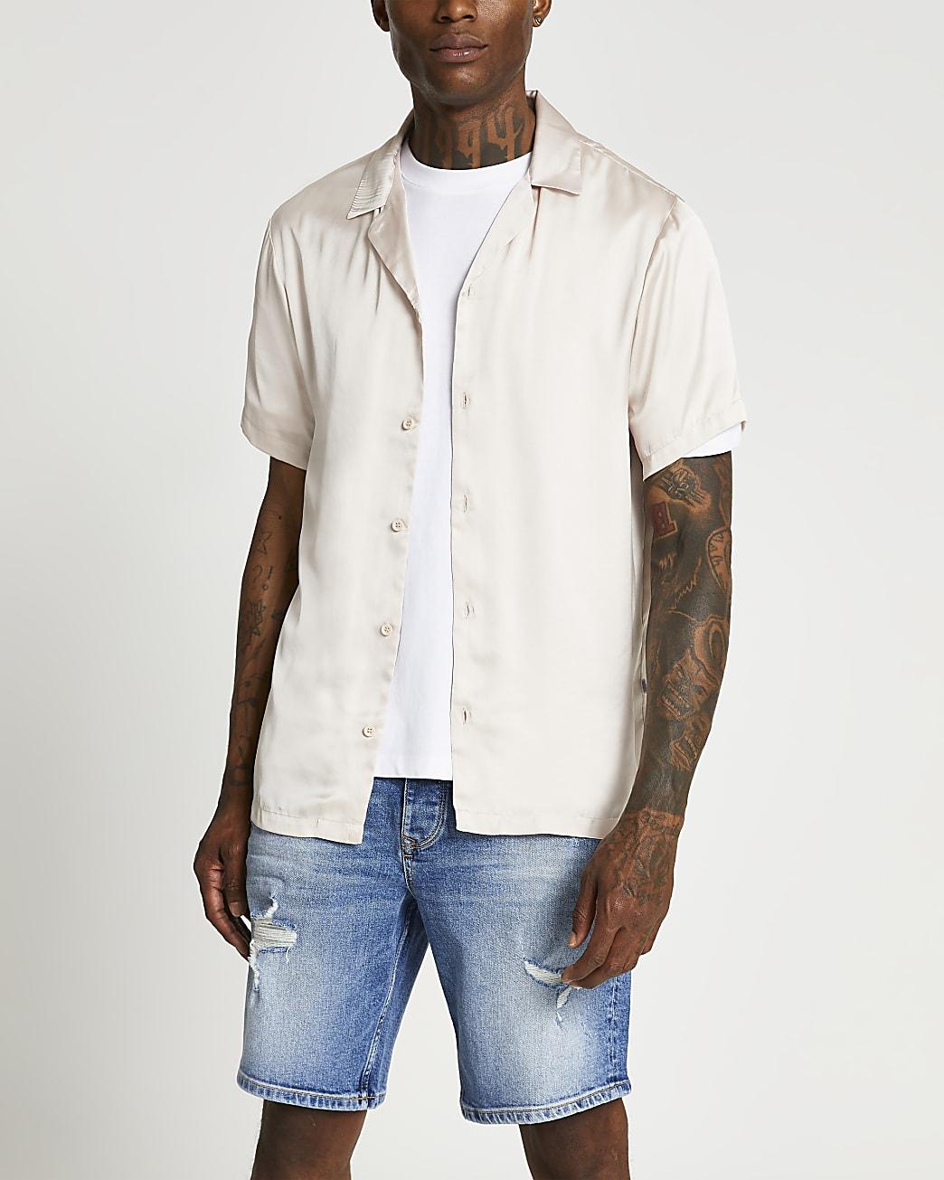 Stone satin revere short sleeve shirt