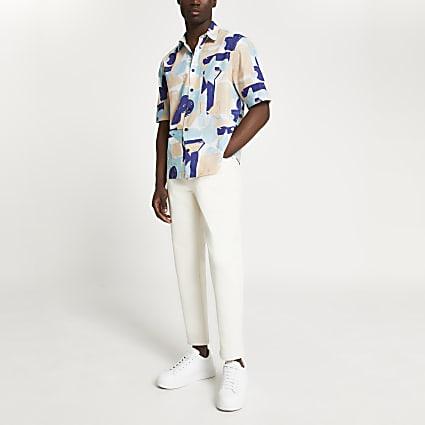 Stone shape print shirt