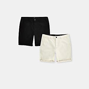 Steingraue Skinny Fit Chino-Shorts, 2er-Pack