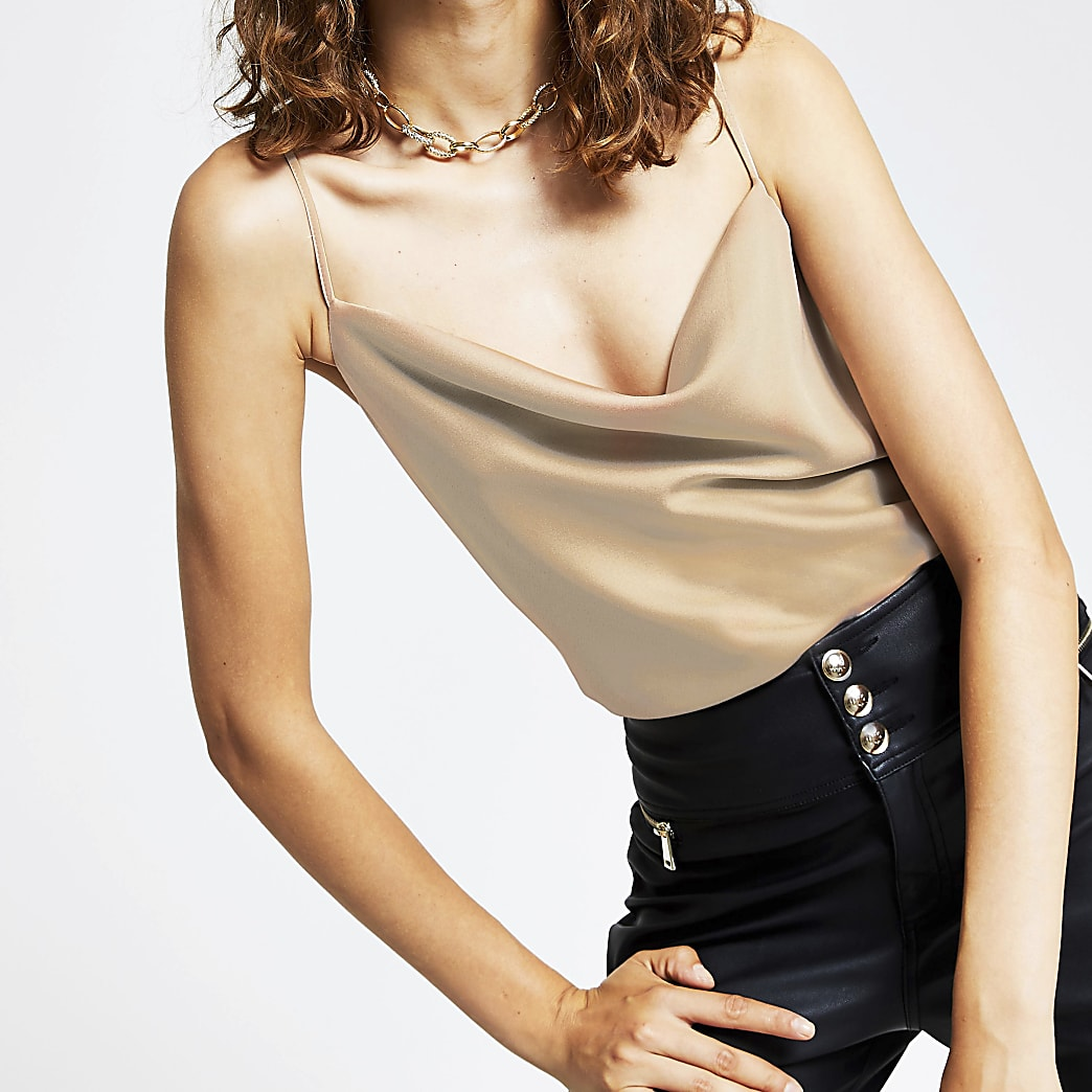 Stone sleeveless cowl neck cami top