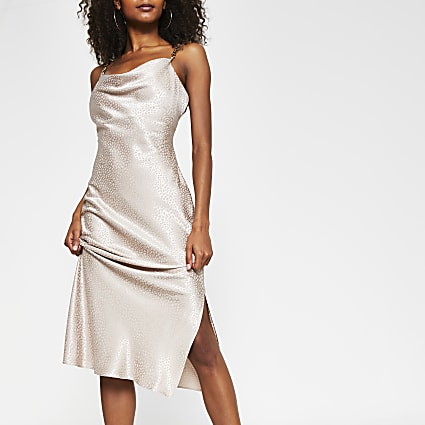 Stone sleeveless cowl neck midi dress
