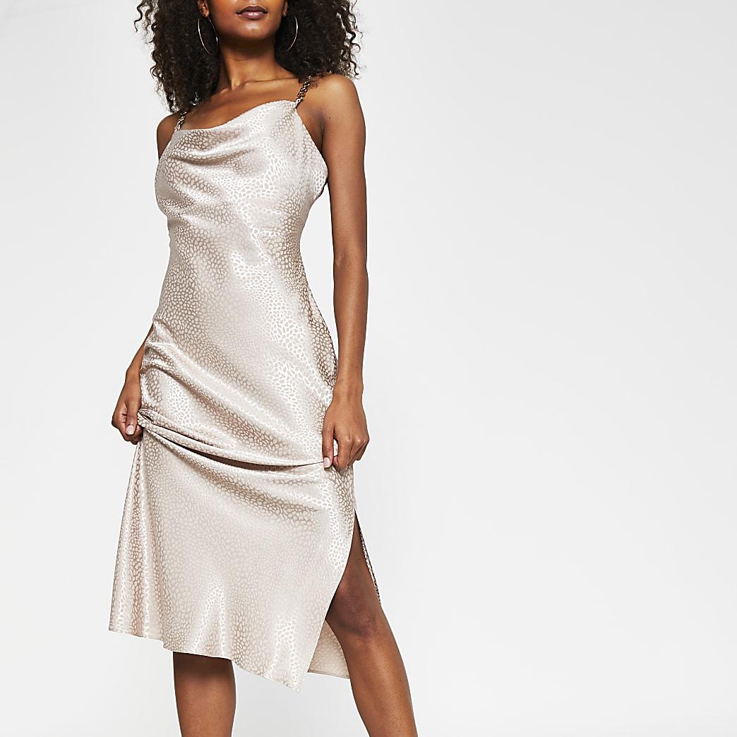 Stone sleeveless cowl neck midi dress