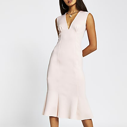 Stone sleeveless v neck bodycon midi dress