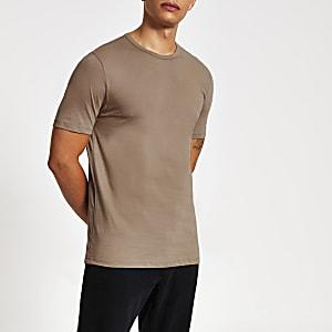 Kiezelkleurig slim-fit T-shirt met ronde hals