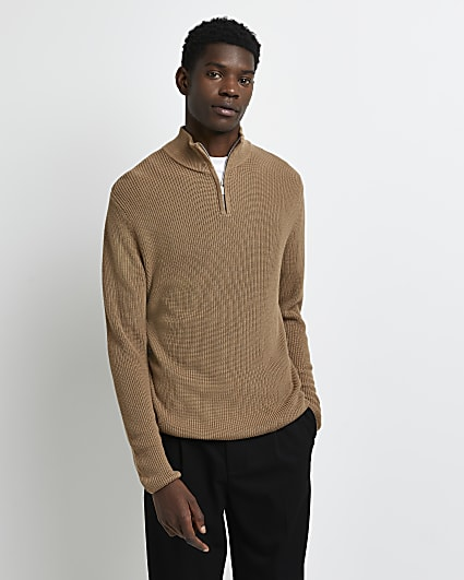 Stone slim fit funnel zip neck jumper