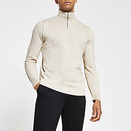 Stone slim fit long sleeve funnel neck jumper