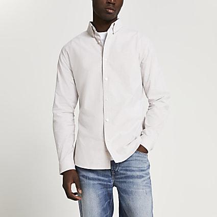 Stone slim fit long sleeve oxford shirt