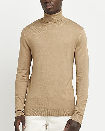 Stone slim fit long sleeve roll neck jumper