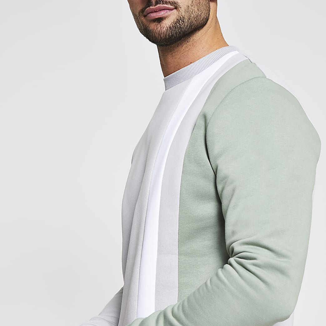 Stone slim fit long sleeve sweatshirt