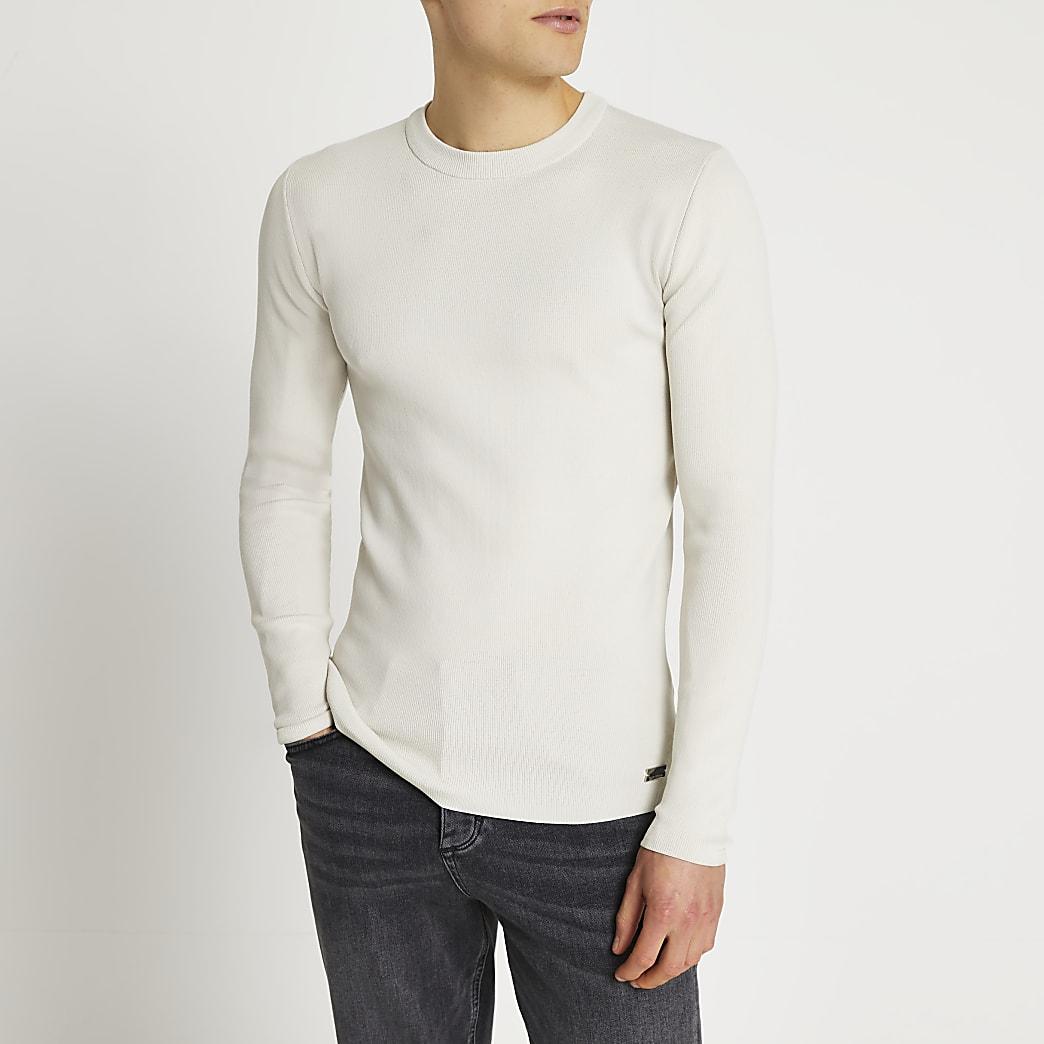 Stone slim fit smart knit jumper