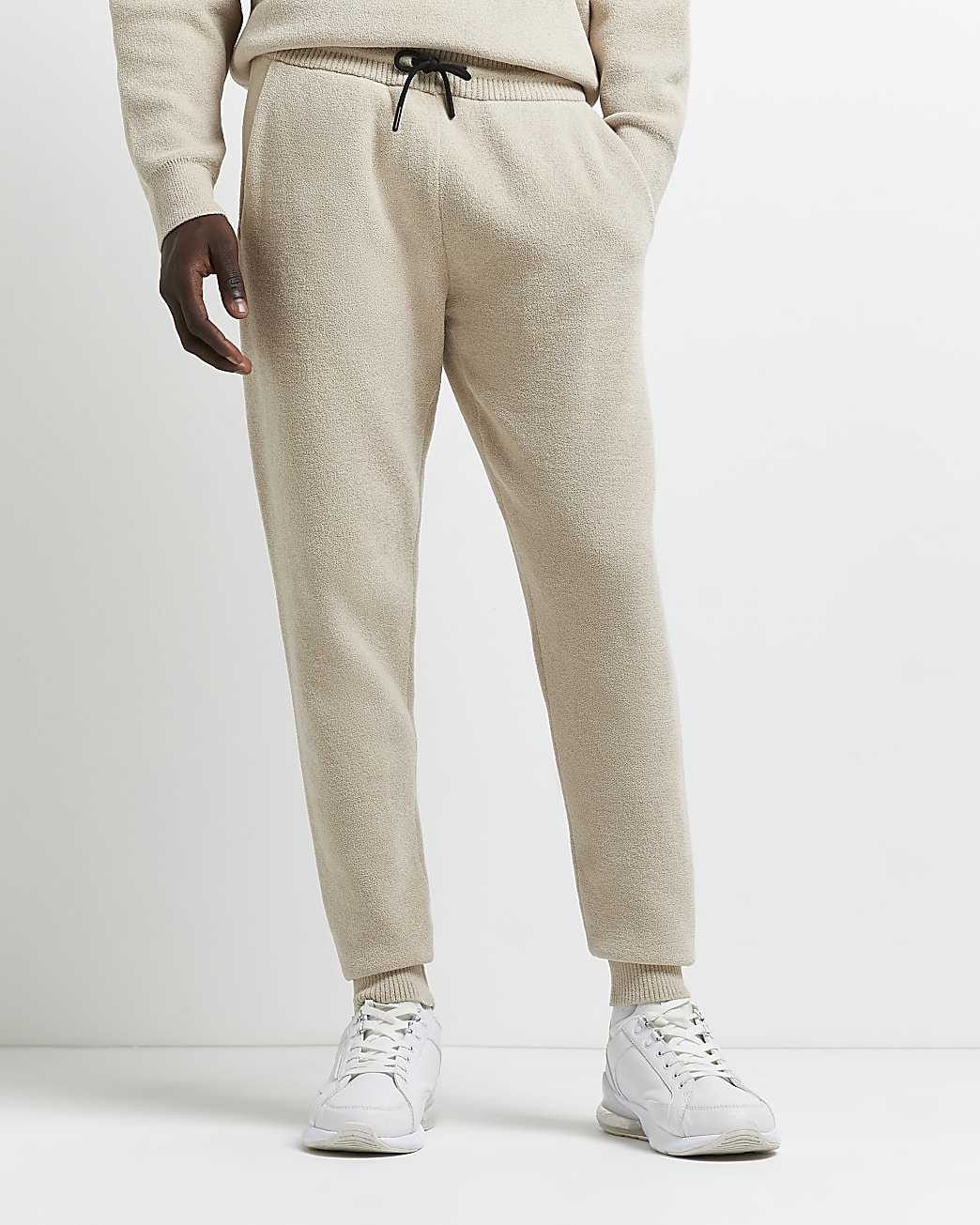 Stone slim fit towelling joggers